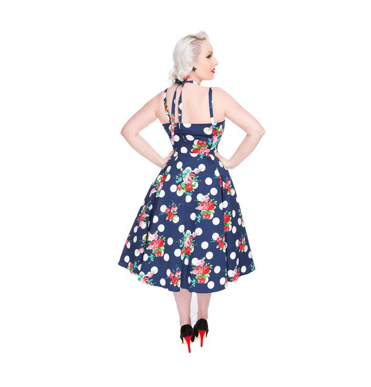 Kleid blau mit roten blumen