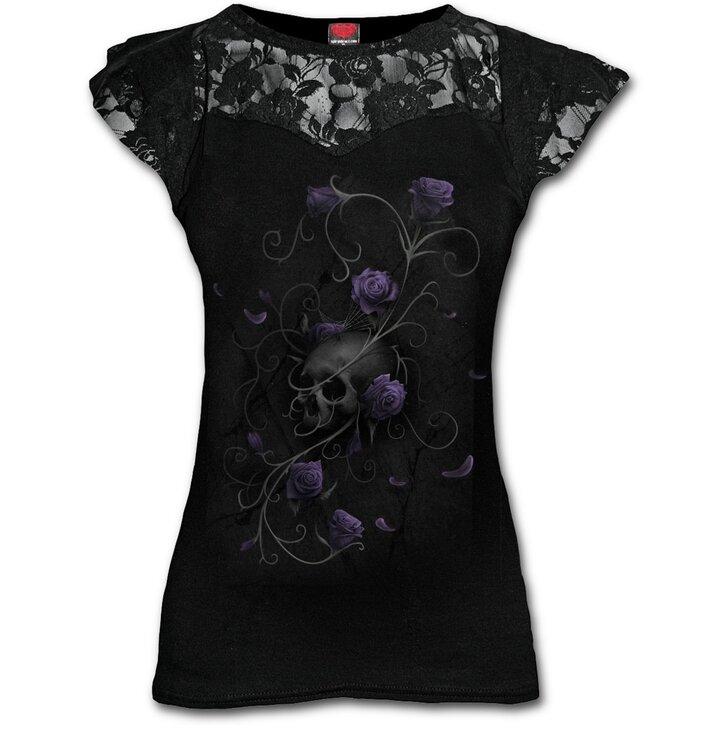 damen t shirt mit spitze violette rosen dedoles. Black Bedroom Furniture Sets. Home Design Ideas