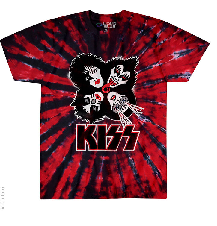 High Quality Kiss Explosion Batik Musik T Shirt Rot Design