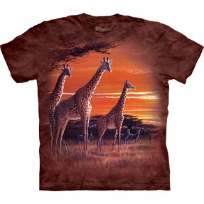 Kinder T-Shirt Kurzarm Giraffen in Savanne